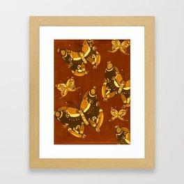 Brown Folk Butterflies Framed Art Print