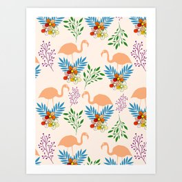 Flamingo Garden #floral #pattern #society6 Art Print