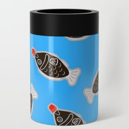 Sushi Soy Fish Pattern in Blue Can Cooler
