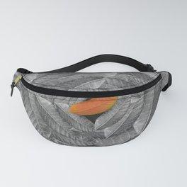 Orange Leaf On Grey And Silver Leaves - Beautiful Background - Autumn mood - #Society6 #buyart Fanny Pack
