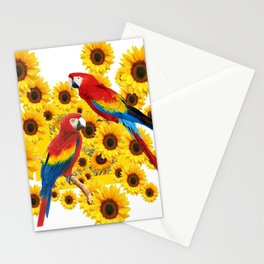 RED  & BLUE MACAWS LOVE YELLOW SUNFLOWERS ART Stationery Cards