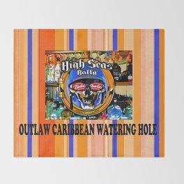 SKULL OUTLAW CARIBBEAN SALOON AND BAR Throw Blanket
