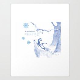 Peace On Earth - Blue Art Print