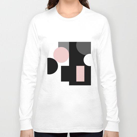 An abstract geometric pattern . Geometric shapes . Black pink white pattern . Long Sleeve T-shirt