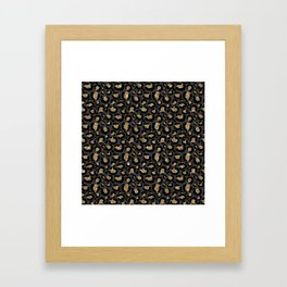 Black Gold Leopard Print Pattern Framed Art Print