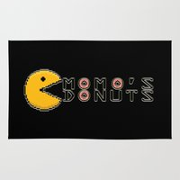 pac man Area & Throw Rugs featuring Momo's Pac-Man by OddFiction