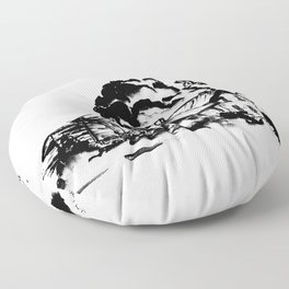 Country Homestead in Indian Ink Floor Pillow