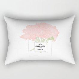 minimal no. 5 perfume with pink flowers Rectangular Pillow