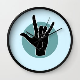 ILY - I Love You - Sign Language - Black on Green Blue 03 Wall Clock