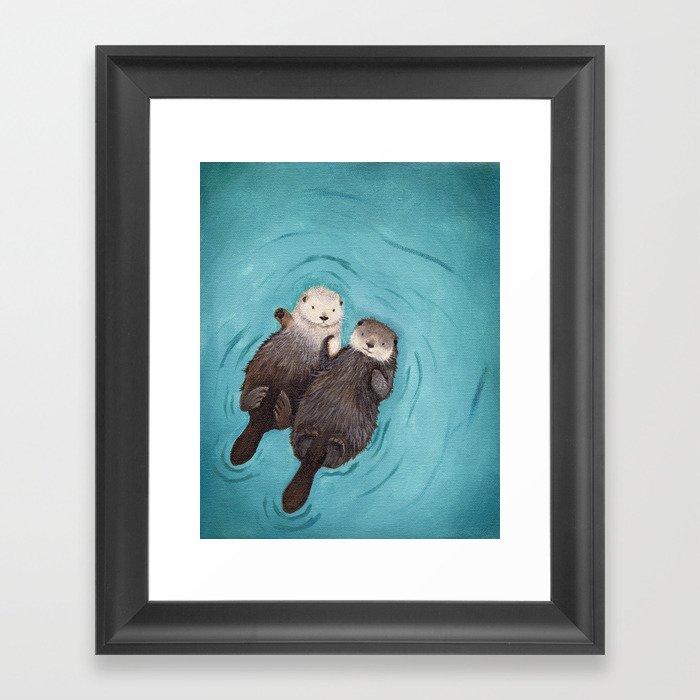 Otterly Romantic - Otters Holding Hands Framed Art Print