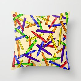 Primary Crayons Cream Throw Pillow