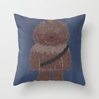 chewbacca Throw Pillows featuring Chewbacca by The Naptime Artist