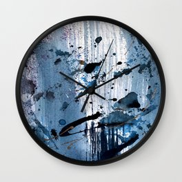 Breathe [6]: colorful abstract in black, blue, purple, gold and white Wall Clock
