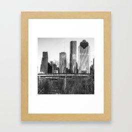 City Skyline Downtown Houston in Black and White 1x1 Framed Art Print