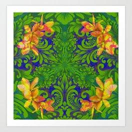 Lush Floral Plumeria Mandala Art Print
