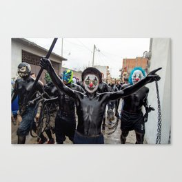 The black clown and his gang Canvas Print