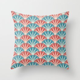 Colorful Abstract Peacock Feather Pattern Throw Pillow