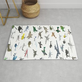 Various Colorful Airplanes and Helicopters Rug