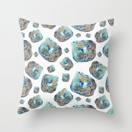 Opal October Birthstone Watercolor Illustration Throw Pillow