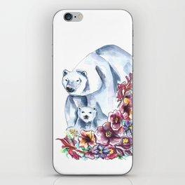 Polar Bears Floral Watercolor Painting iPhone Skin