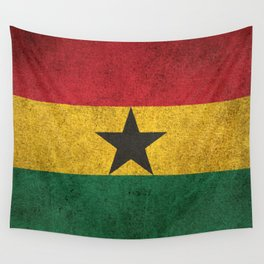 Old and Worn Distressed Vintage Flag of Ghana Wall Tapestry