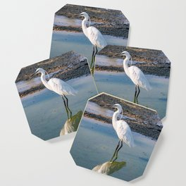The image of a Little Egret reflected in the water of a pond Coaster
