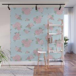 La Vie en Rose - Pink Blue Roses Pattern Wall Mural