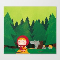 red riding hood Canvas Prints featuring Little Red Riding Hood by parisian samurai studio