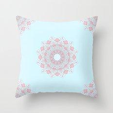 Blue & Pink Mandalas Throw Pillow
