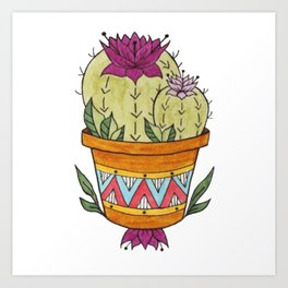 Flowering Pineapple Cactus Design - Potted Cacti Design Art Print