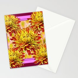 Stylized Abstracted Burgundy Yellow Chrysanthemums Floral Stationery Cards