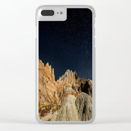 Into the Sea - Night Sky Over the South Dakota Badlands Clear iPhone Case