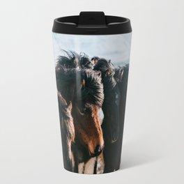 Horses in Iceland - Wildlife animals Travel Mug