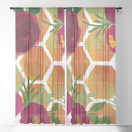 Honeycomb and Flowers Sheer Curtain