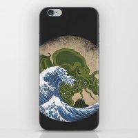 hokusai iPhone & iPod Skins featuring Hokusai Cthulhu by Marco Mottura - Mdk7
