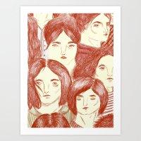 girls Art Prints featuring Girls by Katty Huertas