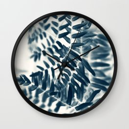 Royal Fern In Blue #2 Wall Clock