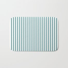Forget Me Not Blue Pinstripe on White Bath Mat