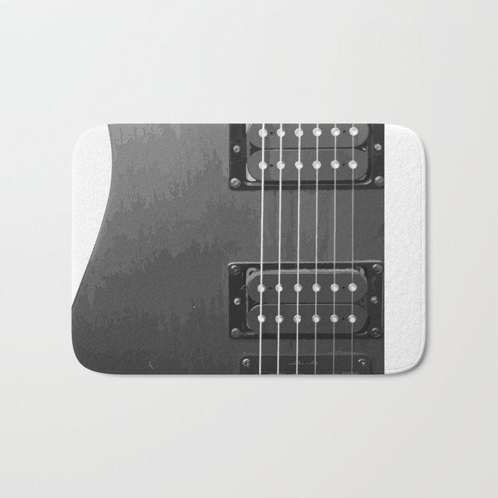 Black and White Guitar Bath Mat