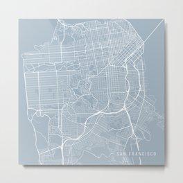 San Francisco Map, USA - Slate Metal Print
