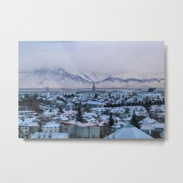 Icy Mountains in Reykjavik Metal Print
