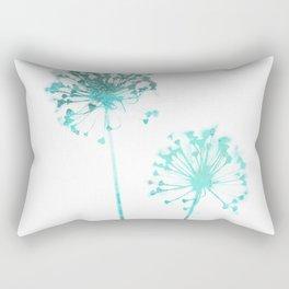 Aqua Blue Dandelion Minimalist Botanical Rectangular Pillow