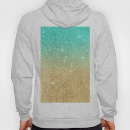 Aqua teal abstract gold ombre glitter Hoody