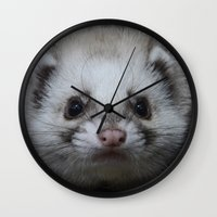 ferret Wall Clocks featuring Sable Ferret by TheDookingFerret