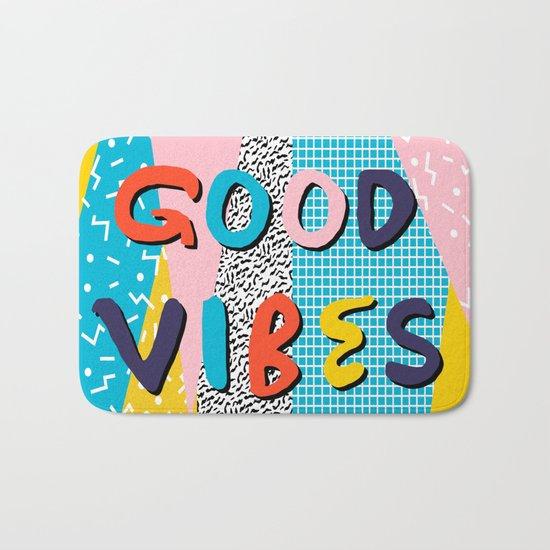 Check it - good vibes happy smiles fun modern memphis throwback art 1980's 80's 80s 1980s 1980 neon  Bath Mat