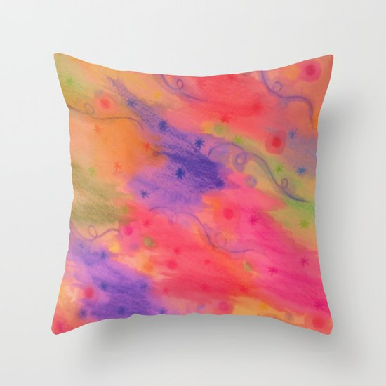 SEEING STARS 3 - Peach Pink Pretty Starry Sky Abstract Watercolor Painting Lovely Feminine Pattern Throw Pillow