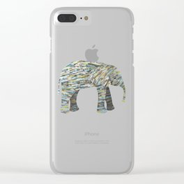 Elephant Paper Collage in Gray, Aqua and Seafoam Clear iPhone Case