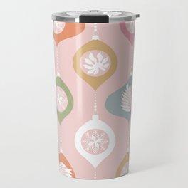 Retro Christmas Baubles Pattern on Pastel Pink Travel Mug