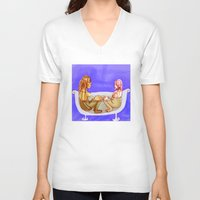 bath V-neck T-shirts featuring Bath by Mottinthepot