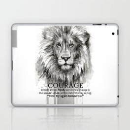 Lion Courage Motivational Quote Watercolor Painting Laptop & iPad Skin